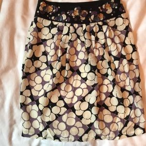 Anthropologie Silk skirt with sparkly waistband